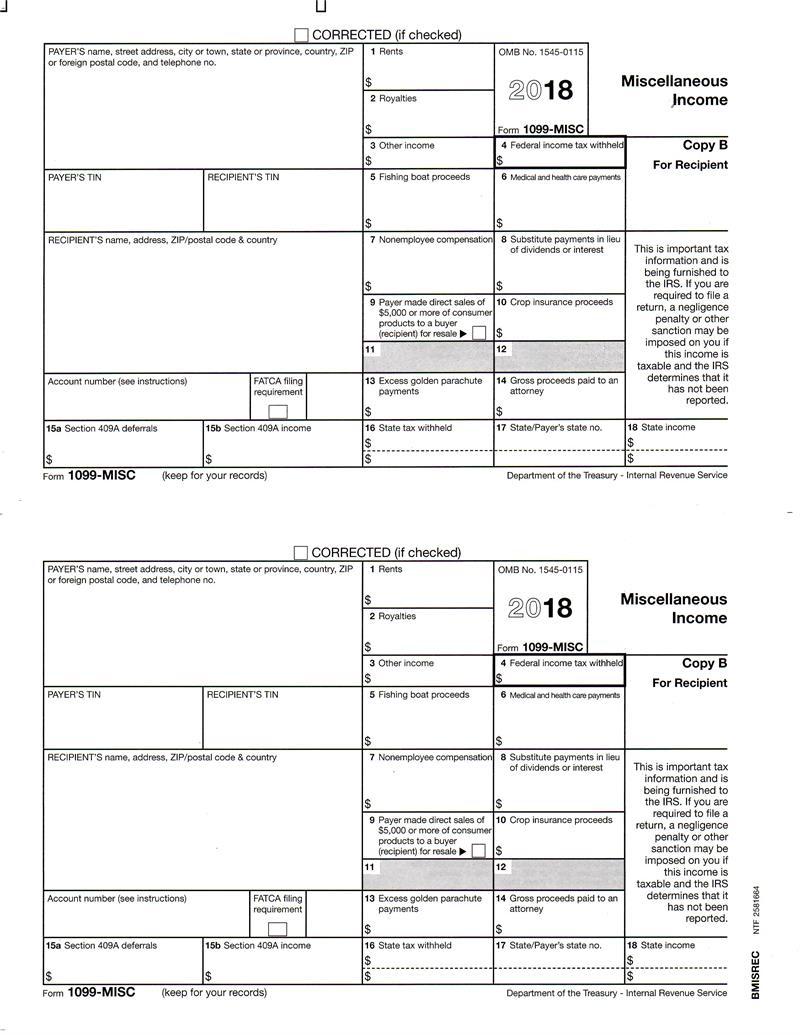 form 1099 misc fillable Form 1099-MISC Miscellaneous Income, Recipient Copy B
