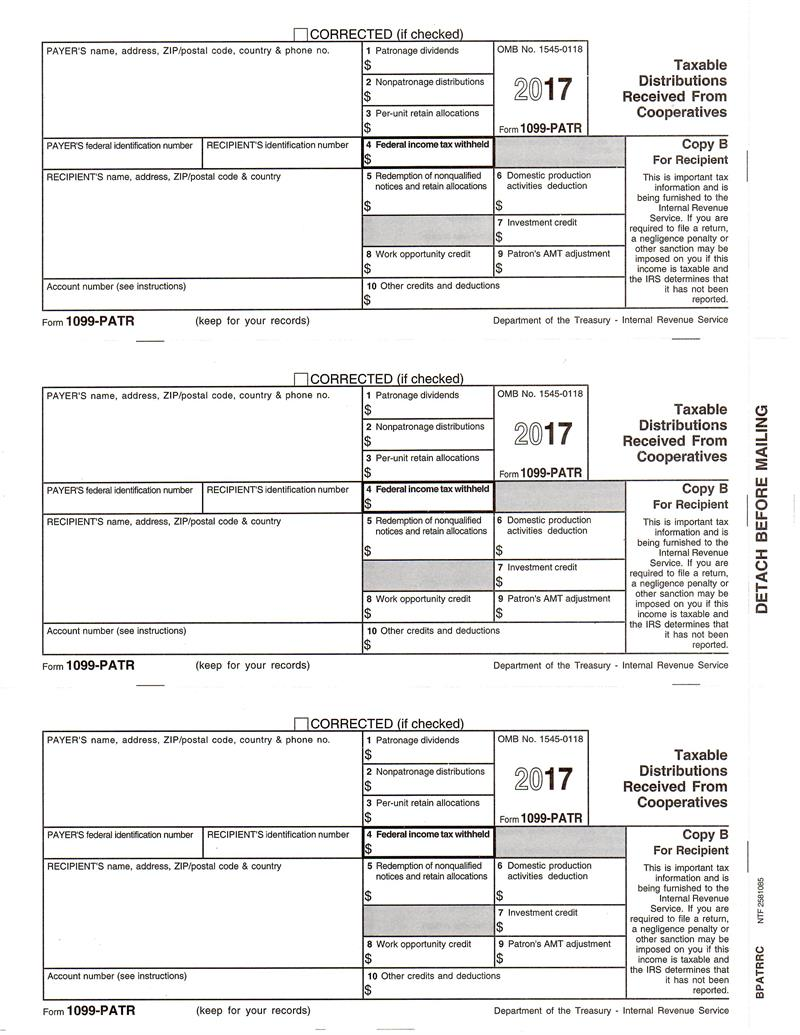 Form 1099 patr taxable distributions received from cooperatives form 1099 patr taxable distributions received from cooperatives recipient copy b falaconquin