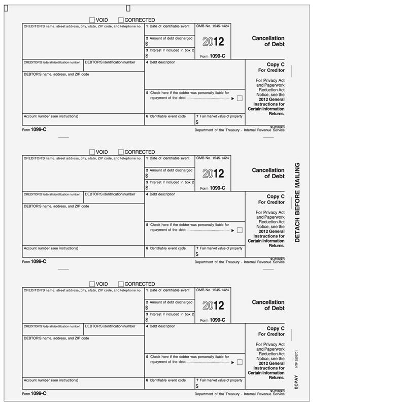 cancellation debt forms