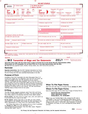 For W-3, Transmittal of Forms W-2 to Social Security