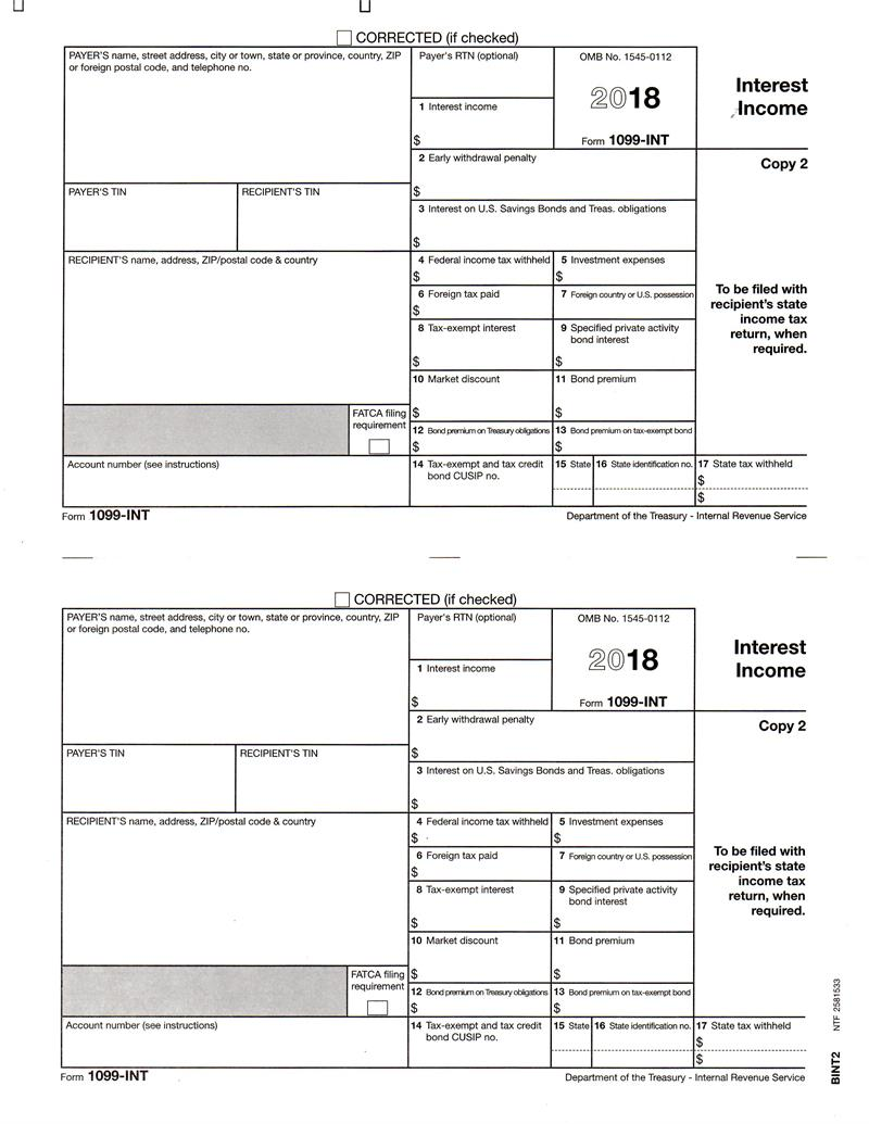 Form 1099 Int Interest Income Recipients State Copy 2