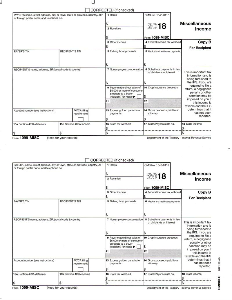 Form 1099 Misc Miscellaneous Income Recipient Copy B