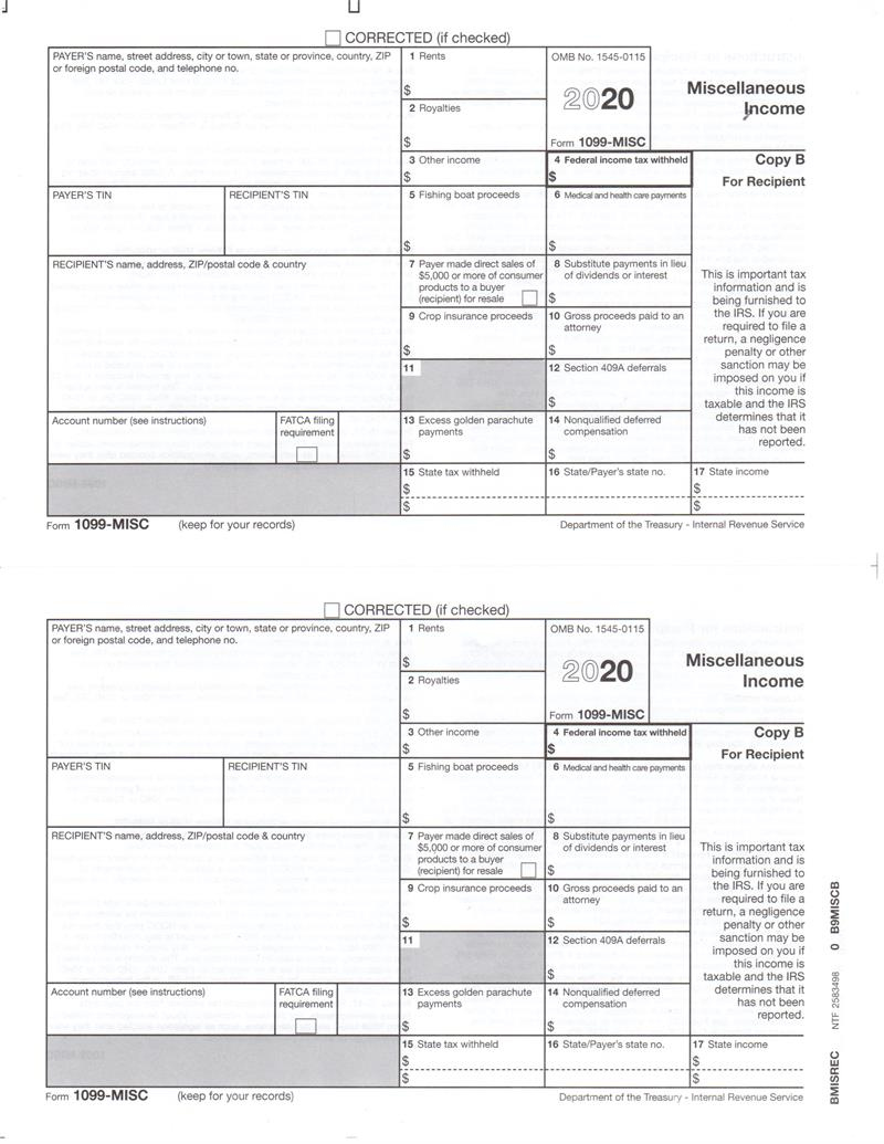 Form 1099 Misc To Report Miscellaneous Income