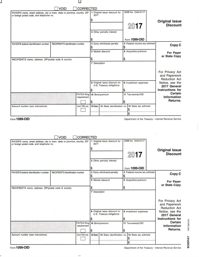 Form 1099 Oid Original Issue Discount Payer Copy C