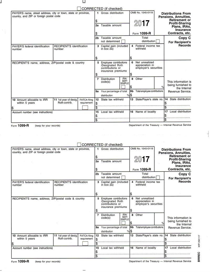 Form 1099 R Distributions From Pensions Annuities Retirement Or