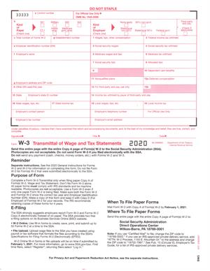 W-3 Transmittal for Forms W-2